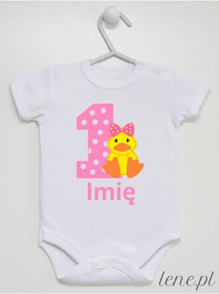 Jedynka Z Kaczuszką + Imię - body niemowlęce