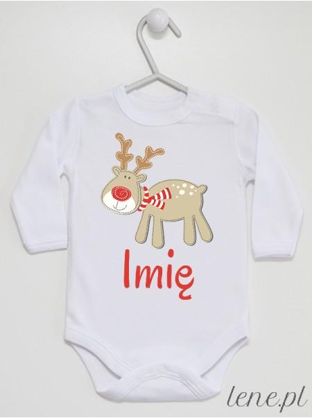 Wesoły Reniferek + Twoje Imię - body niemowlęce