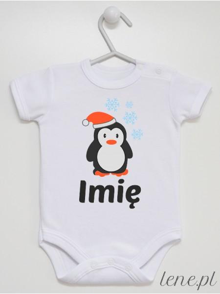 Pingwinek W Czapeczce + Imię - body niemowlęce