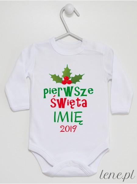 Święta Ostrokrzew + Imię + Rok - body niemowlęce