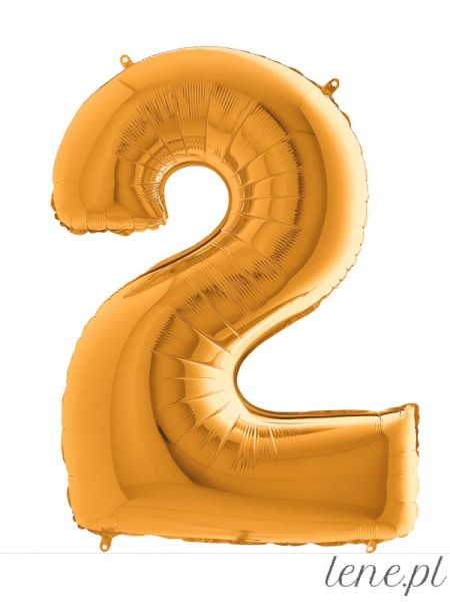 Cyfra Dwa Złoty - balon foliowy
