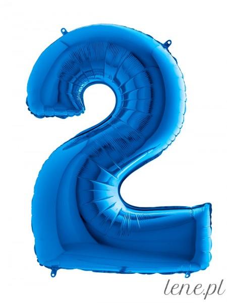 Cyfra Dwa Niebieski - balon foliowy