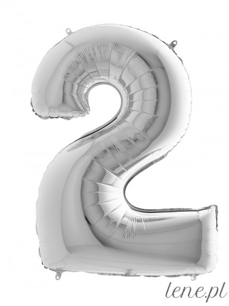 Cyfra Dwa Srebrny - balon foliowy