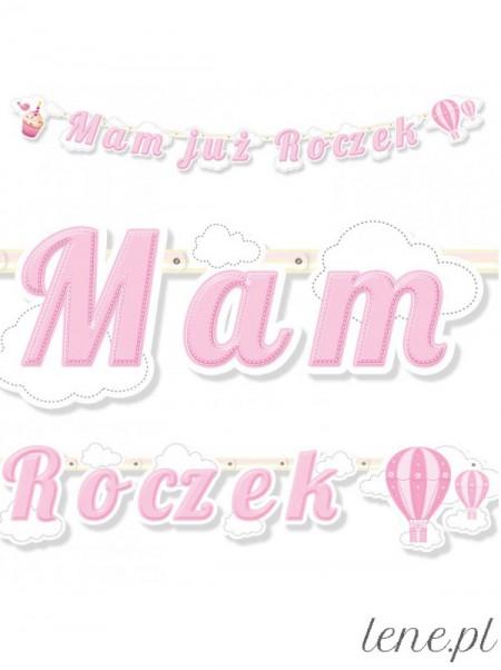 Mam Już Roczek Różowy - baner urodzinowy