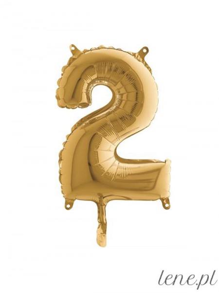 Cyfra Dwa Złota 35 cm - balon foliowy