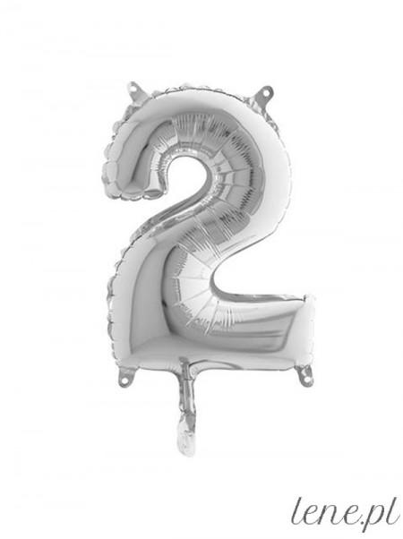Cyfra Dwa Srebrna 35 cm - balon foliowy