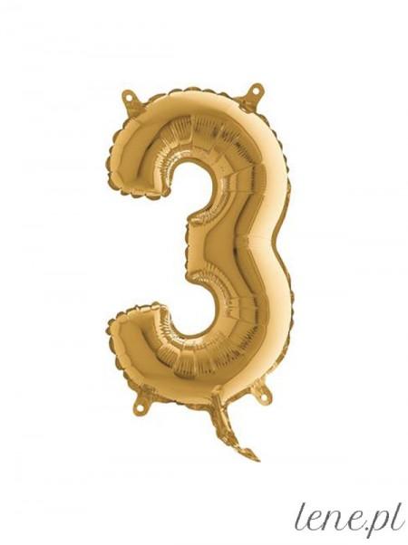 Cyfra Trzy Złota 35 cm - balon foliowy