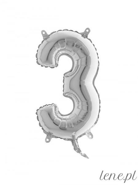 Cyfra Trzy Srebrna 35 cm - balon foliowy