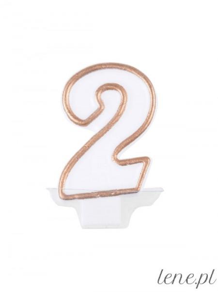 Cyfra Dwa Biało Złota - świeczka urodzinowa