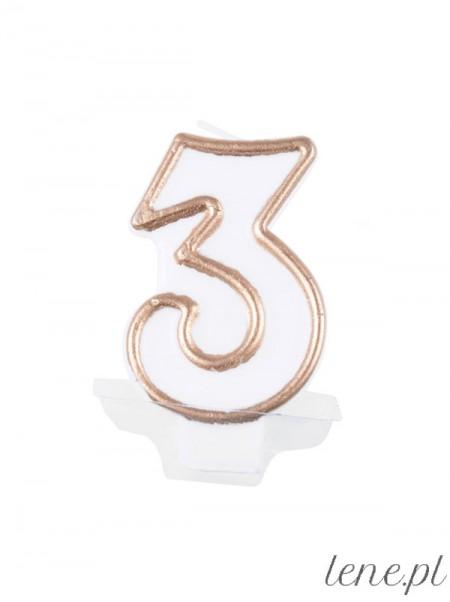 Cyfra Trzy Biało Złota - świeczka urodzinowa
