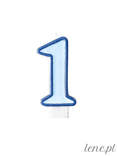 Cyfra Jeden Niebieska - świeczka urodzinowa