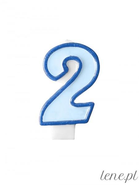 Cyfra Dwa Niebieska - świeczka urodzinowa