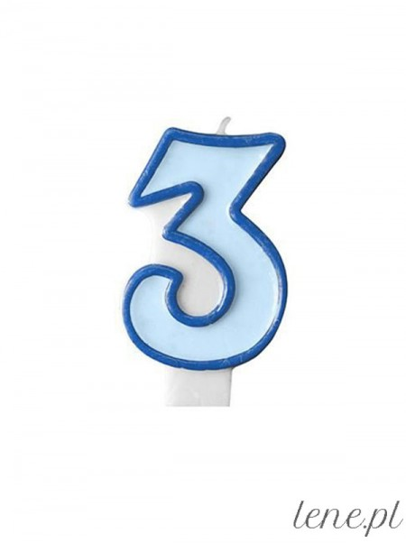 Cyfra Trzy Niebieska - świeczka urodzinowa