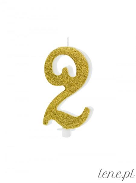 Cyfra Dwa Złota Brokat - świeczka urodzinowa