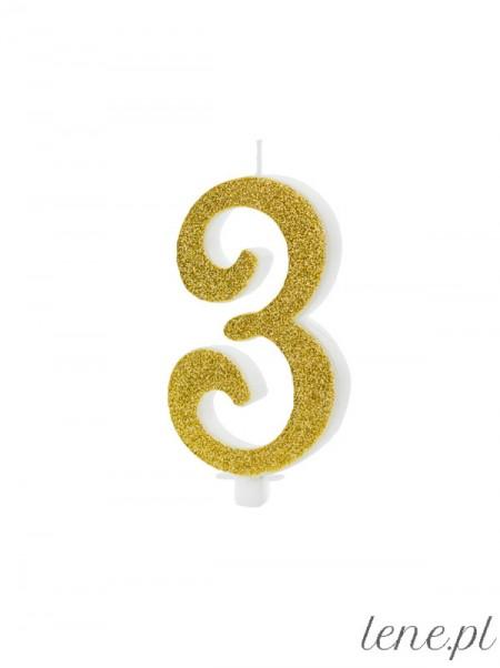 Cyfra Trzy Złota Brokat - świeczka urodzinowa