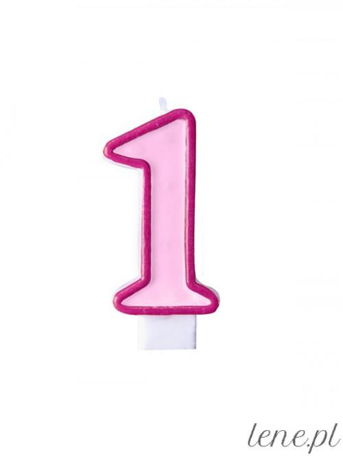 Świeczka urodzinowa Cyfra Jeden Różowa