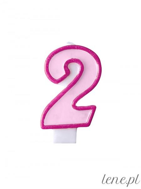 Cyfra Dwa Różowa - świeczka urodzinowa