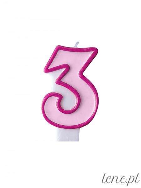 Cyfra Trzy Różowa - świeczka urodzinowa