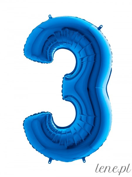 Cyfra Trzy Niebieski - balon foliowy