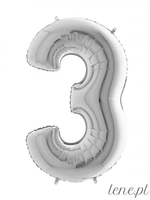 Balon foliowy Cyfra Trzy Srebrny