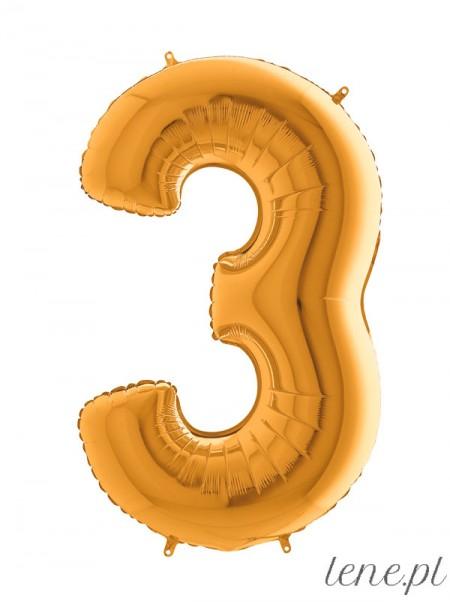 Cyfra Trzy Złoty - balon foliowy
