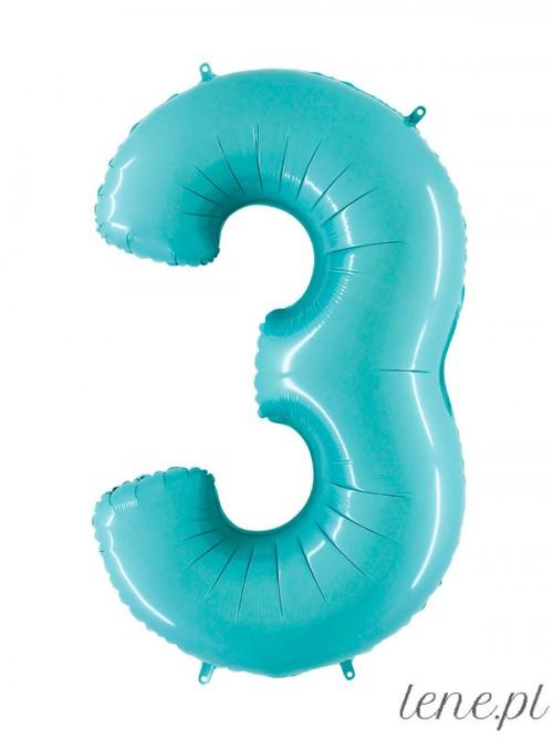 Balon foliowy Cyfra Trzy Błękitny