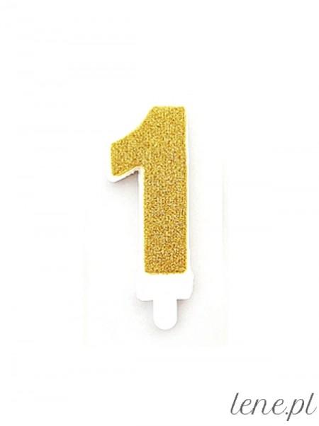 Cyferka Jeden Złoty Brokat - świeczka urodzinowa