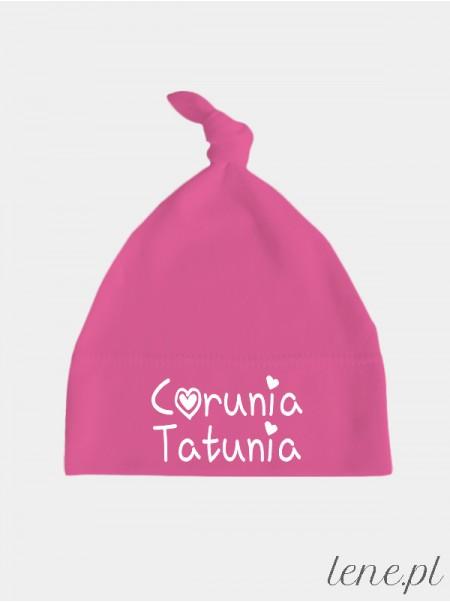 Napis Córunia Tatunia - czapka dla dziewczynki z supełkiem