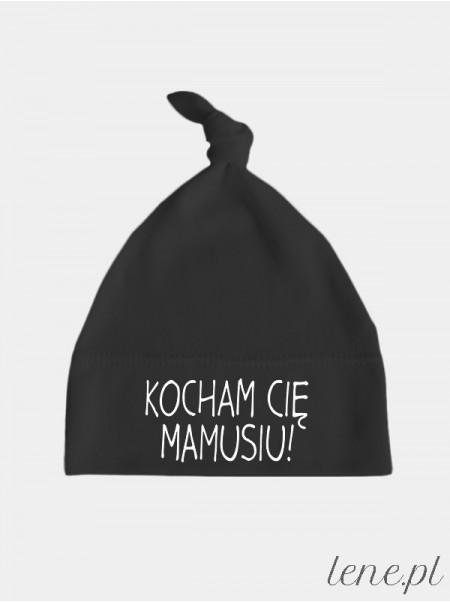 Kocham Cie Mamusiu! Nadruk Czarny - czapeczka dla dzieci