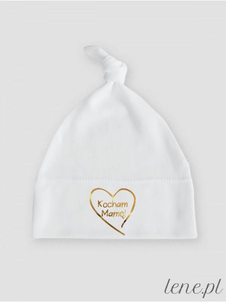 Serduszko Kocham Mamę Nadruk Złoty - czapka dziecięca