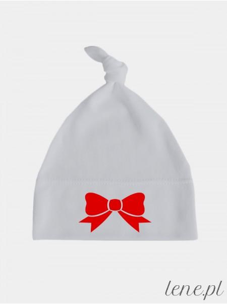 Kokardka Nadruk Czerwony - czapka dla niemowlaka