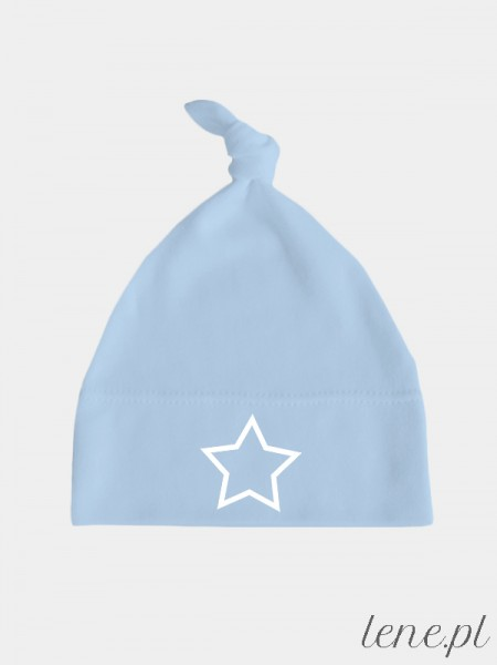 Gwiazda Nadruk Biały - czapka dla niemowląt z supełkiem