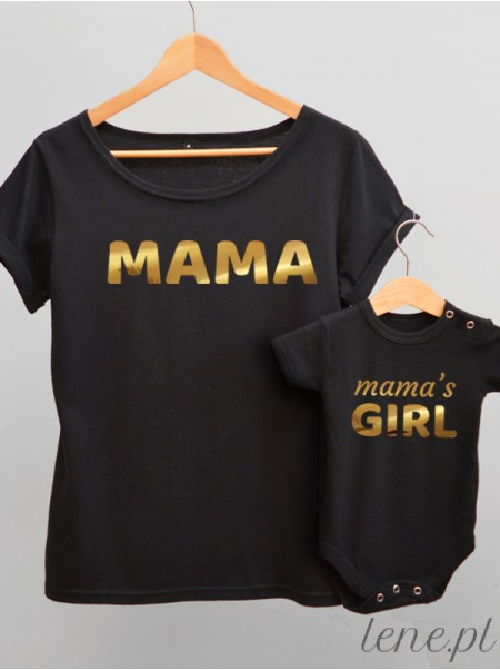 Dla Mamy i Córki Nadruk Złoty 02 - komplet bluzka i body
