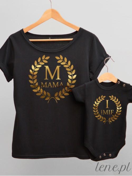 Komplet bluzka i body - Z imieniem Dziecka Oraz Inicjałem Nadruk Złoty