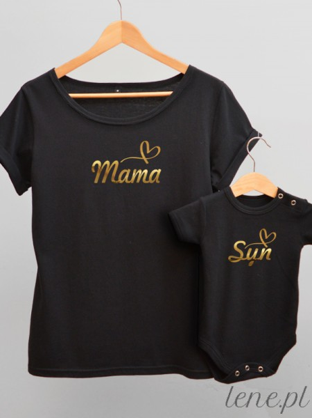 Dla Mamy i Syna Nadruk Złoty 03 - komplet bluzka i body