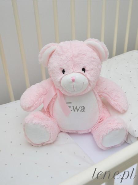 Pluszak Miś Różowy z Twoim Napisem 40 cm - maskotka z nadrukiem