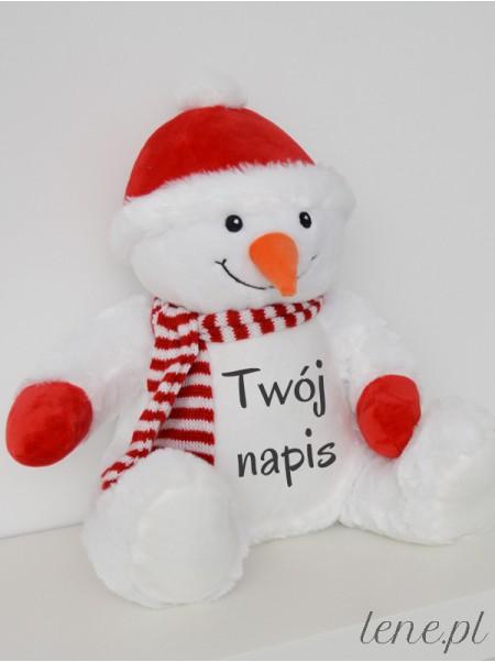 Pluszak Bałwanek z Twoim Napisem 42 cm - maskotka na prezent świąteczny