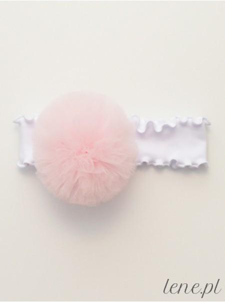 Opaska z falbanką białą Pompon Róż Jasny