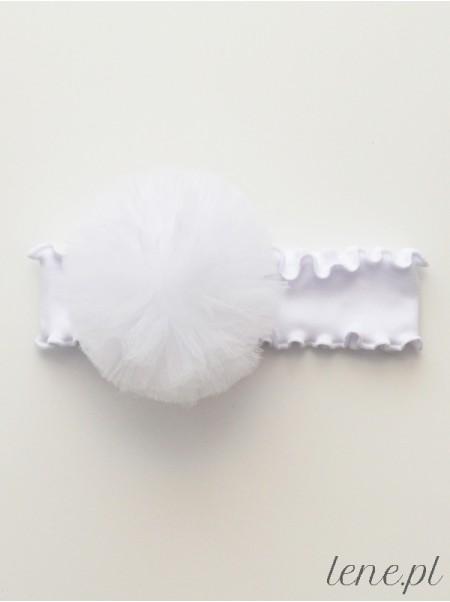 Opaska z falbanką białą Pompon Biały