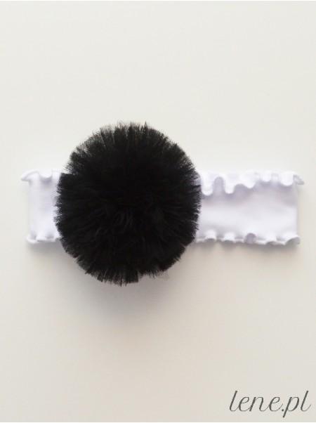 Opaska z falbanką białą Pompon Czarny