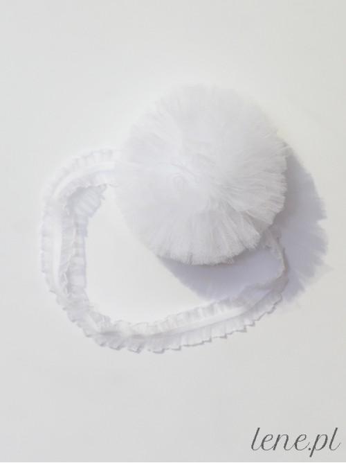 Opaska Pompon Tiulowy Biały