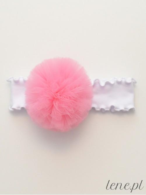 Opaska z falbanką białą Pompon Róż Średni