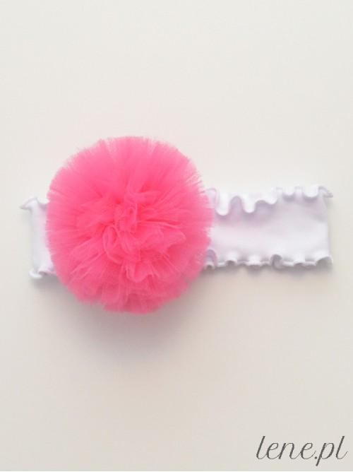 Opaska z falbanką białą Pompon Róż Ciemny