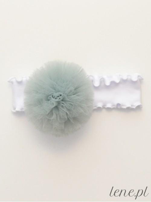 Opaska z falbanką białą Pompon Szary