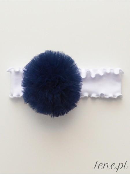 Opaska z falbanką białą Pompon Granatowy