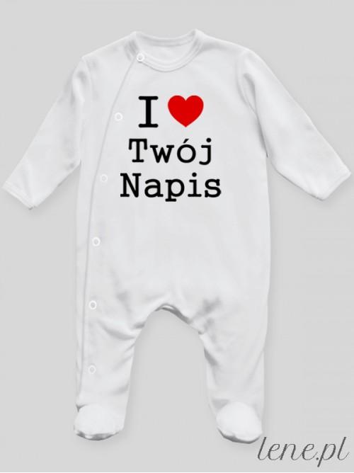 Pajac niemowlęcy I Love + Twój Napis
