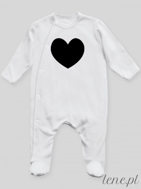 Serduszko Nadruk Czarny - pajac niemowlęcy