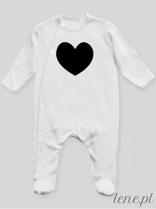 Pajac niemowlęcy Serduszko Nadruk Czarny