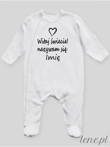 Witaj Świecie Nazywam Się + Imię - pajac niemowlęcy