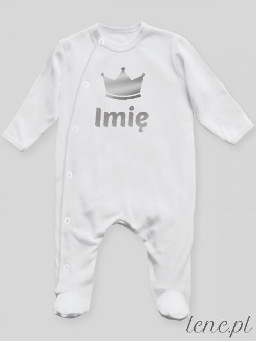 Pajac niemowlęcy Korona Srebrna + Imię